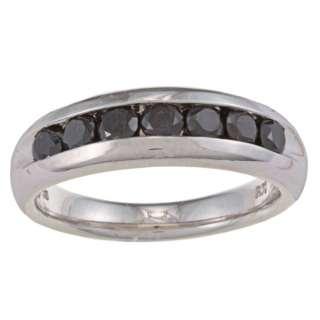 Sterling Silver 1ct TDW Mens Seven Stone Black Diamond Ring