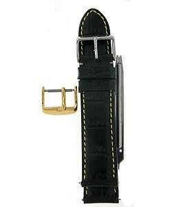Black Genuine Calfskin Leather 20mm Watch Strap Kit