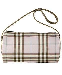 Burberry Small Pink Plaid Barrel Bag