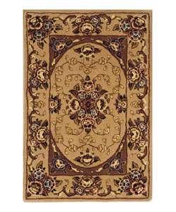 Handmade Kerman Beige Wool/ Silk Rug (18 x 26)