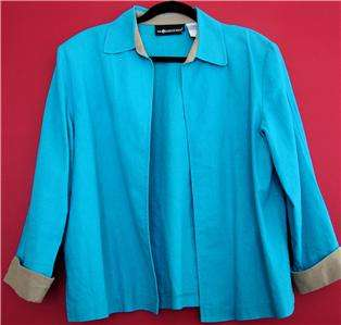 Sag Harbor Turquoise Linen Blend Blazer Top Womens 12 M
