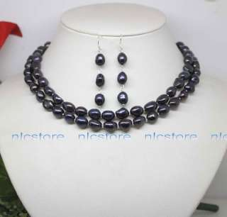 Charming 32 black baroque pearl necklace earrings set