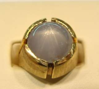 Mens Estate 14K Yellow Gold Blue Star Sapphire Ring