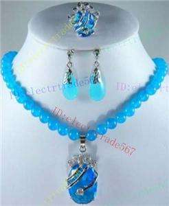 Blue Topaz Crystal pendant necklace Earring Ring Set