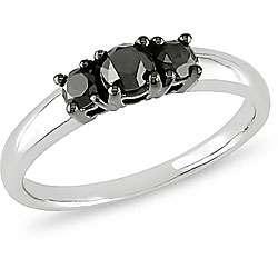 10k White Gold 1/2ct TDW Black Diamond 3 stone Ring