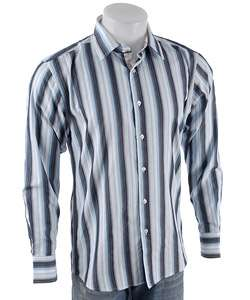 Coupe Long sleeve Light Blue Striped Dress Shirt