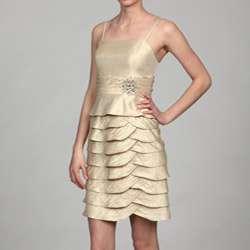Jessica Howard Womens Champagne Bolero Jacket 2 piece Dress