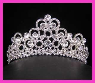 Wedding/Bridal crystal veil tiara crown headband CR221