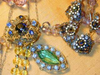 VTG ANTIQUE LOT OF ENAMEL GLASS CRYSTAL NECKLACES BROOCHES RHINESTONES
