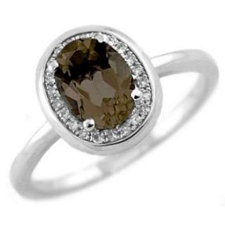 SMOKEY TOPAZ & DIAMOND 14K WHITE GOLD ENGAGEMENT RING