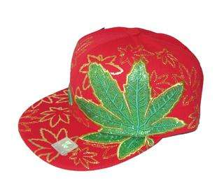 Weed Pot Leaf Cannabis Hat Cap Red Green Gold 420 Chronic Leader Brand