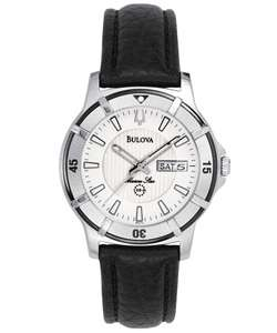 Bulova Marine Star Mens Black Leather Watch  Overstock