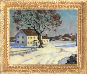 HOUSE IN WINTER Dollhouse Picture FRAMED Miniature Art