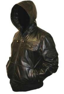 Mens Black HOODED Leather Bomber Jacket Coat Hoody S
