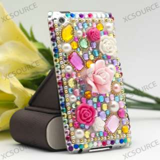 Pink flower Bling Crystal Hard Case for iPod touch 4G 4th skin PC129