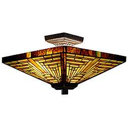 Tiffany style Stained Glass Mission Ceiling Lamp