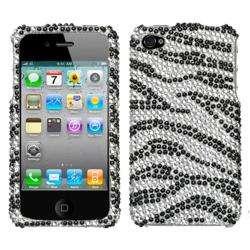 iPhone 4 Black Zebra Print Diamond Snap on Cover