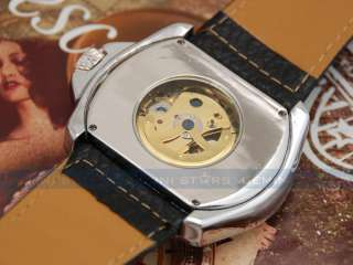 Western Rancher Style Leather Band Skeleton Auto Mechanical Men Sport
