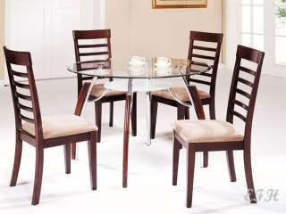 5PC MODERN ROUND GLASS TOP CHERRY WOOD DINING TABLE SET