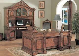 Allison Executive Desk Credenza Hutch Wood Leather Chair Office
