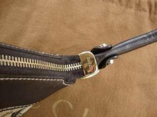 GUCCI Signature Mono Fabric/ Brown leather Trim Shoulder/ Hobo Purse $
