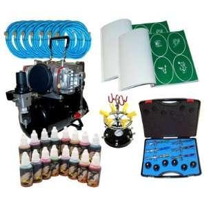 Airbrush Depot KIT TAT 828 16 PRO 6 AIRBRUSH TATTOO KIT 16