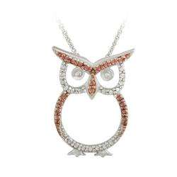 Gold over Silver Champagne Diamond Accent Owl Necklace