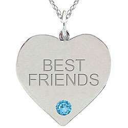 Birthstone Swiss Blue Topaz BEST FRIENDS Necklace
