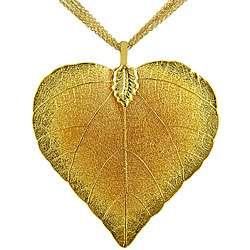 24k Gold Overlay Heart shaped Leaf Pendant