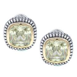 La Preciosa Sterling Silver Green CZ Square Earrings