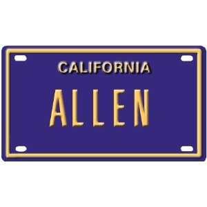 Allen Mini Personalized California License Plate