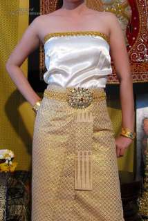 Large Gold Plated Metal Jeweled Belt Head Thai Theater