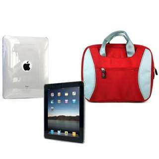 COMBO Crystal Smoke Skin + Red Case Hand Bag for iPad