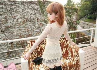 New Korean Women Long Sleeve Lace Slim Mini Dress 2 Colors 1300