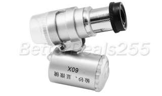 Mini 60X Microscope Loupe LED Magnifier Money Detector