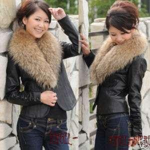 FJ7 new Real fox fur collar real leather blazer jacket