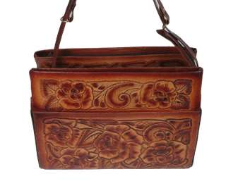 WESTERN VINTAGE STYLE HAND TOOLED LEATHER PURSE HANDBAG