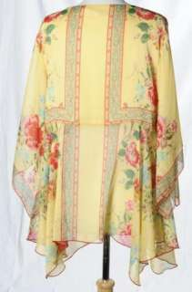 Coldwater Creek Yellow Tie Front Floral Tunic Shirt Blouse Bohemian