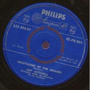 HEARTACHES BY THE NUMBER 7 INCH (7 VINYL 45) UK PHILIPS
