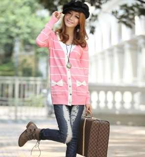 Women Stripes Gossip Girl Knitted Cardigan Sweater Outerwear S M C011