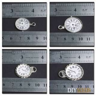 Jewelry Findings Tibetan Silver Vintage Clock Charms Pendant Craft