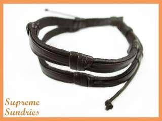 Style Brown Combo Braided Hemp Surfer Leather Bracelet #3