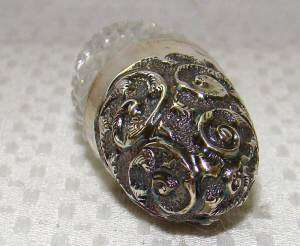 RARE SOLID STERLING SILVER/GLASS~EGG SCENT/PERFUME BOTTLE ~ANTIQUE