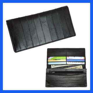 Genuine Eel skin Leather Slim Wallet with coin Purse Wallet Black