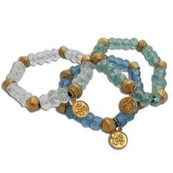 Goldtone Recylced Glass Om Ganesh Mala Bracelet (Indonesia