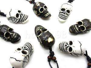 6PCS Cool Yak Bone demon evil Skull Pendent Necklace