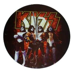 KISS Band Love Gun Flat Glass Wall Clock Kitchen & Dining
