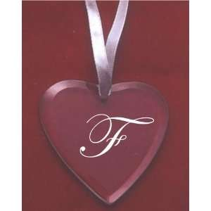 Glass Heart Ornament with the letter F