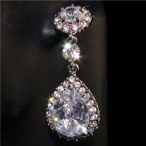 VTG Style Bridal Flower Drop Dangle Earring Swarovski Crystal