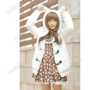 Womens Girls Warm Supper Cute Bunny Ears Sherpa Hoodie Coat Jacket